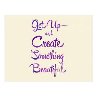 Create Something Beautiful Purple Postcard