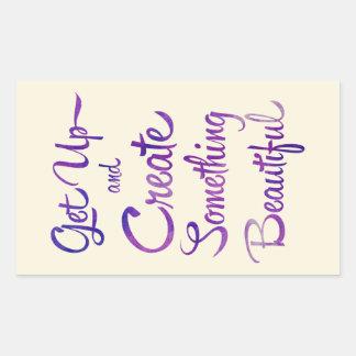 Create Something Beautiful Purple Rectangular Sticker
