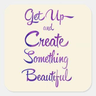 Create Something Beautiful Purple Square Sticker