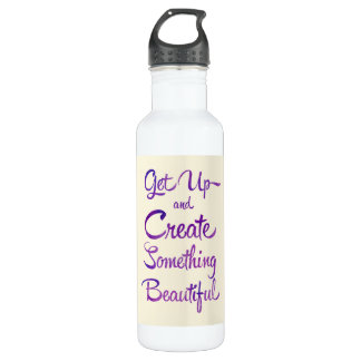 Create Something Beautiful Purple Stainless Steel Water Bottle