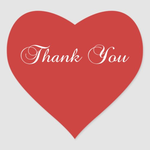 Create You Own Red and White Elegant Thank You Heart Sticker