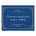 create your coloured wedding sign or party sign poster