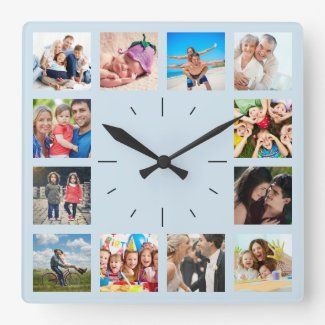 Create Your Custom 12 Photo Collage Blue Square Wall Clock
