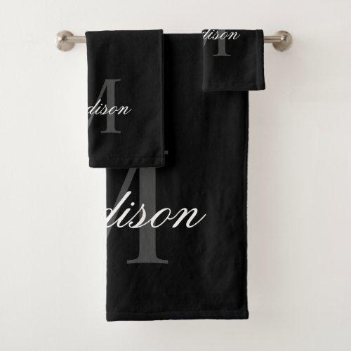Create Your Custom Name Monogram Calligraphy Black Bath Towel Set