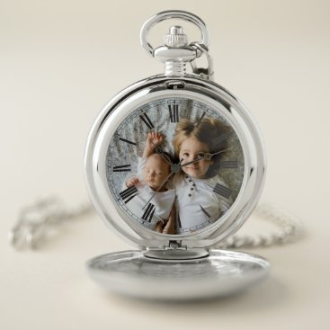 Create Your Custom Photo Classy Elegant Roman Pocket Watch