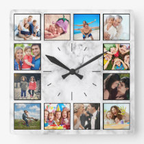 Create Your Custom Photo Collage Elegant Marble Square Wall Clock