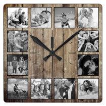 Create Your Custom Photo Collage Rustic Farmhouse Square Wall Clock