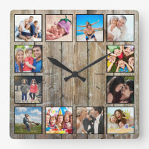Create Your Custom Photo Collage Rustic Farmhouse Square Wall Clock
