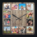 """Create Your Custom Photo Collage Rustic Farmhouse Square Wall Clock<br><div class=""""desc"""">Create your own personalized 12 photo collage wall clock with your custom images on a rustic farmhouse style wooden plank background. Add your favorite photos, designs or artworks to create something really unique. To edit this design template, simply upload your own image as shown above. You can easily add more...</div>"""