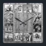 "Create Your Custom Photo Collage Rustic Farmhouse Square Wall Clock<br><div class=""desc"">Create your own personalized 12 photo Instagram photo collage wall clock with your custom images on a rustic farmhouse style wooden plank background. Add your favorite photos, designs or artworks to create something really unique. To edit this design template, simply upload your own image as shown above. You can easily...</div>"