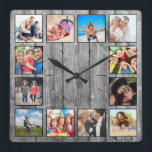"""Create Your Custom Photo Collage Rustic Farmhouse Square Wall Clock<br><div class=""""desc"""">Create your own personalized 12 photo Instagram photo collage wall clock with your custom images on a rustic farmhouse style wooden plank background. Add your favorite photos, designs or artworks to create something really unique. To edit this design template, simply upload your own image as shown above. You can easily...</div>"""