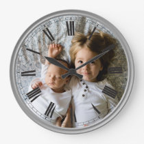 Create Your Custom Photo Grey Classy Elegant Large Clock