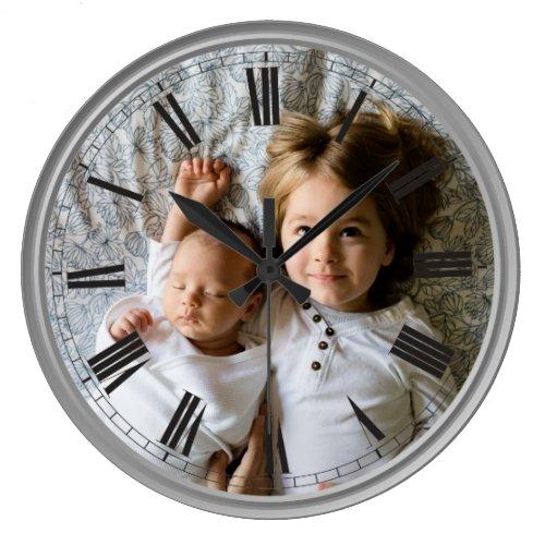 Create Your Custom Photo Grey Classy Elegant Large Clock