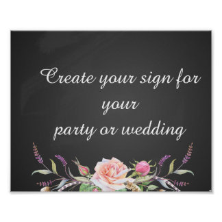 create your floral chalkboard  party sign