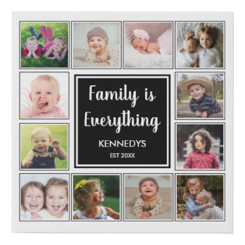 Create Your Own 12 Photo Collage Family Quote Faux Canvas Print