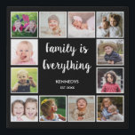 """Create Your Own 12 Photo Collage Frame Black Faux Canvas Print<br><div class=""""desc"""">Create your own photo collage canvas print with 12 of your favorite pictures. The photo frame print helps you treasure your special moments and also makes a thoughtful gift for parents, grandparents and friends. The personalized photo print makes it a perfect gift for all occasions. Personalize with family name and...</div>"""