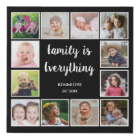 Create Your Own 12 Photo Collage Frame Black Faux Canvas Print