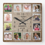 Create Your Own 12 Photo Collage Frame Burlap Square Wall Clock