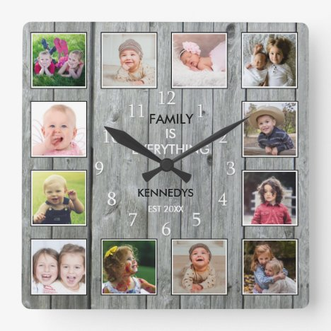 Create Your Own 12 Photo Collage Rustic Gray Wood Square Wall Clock