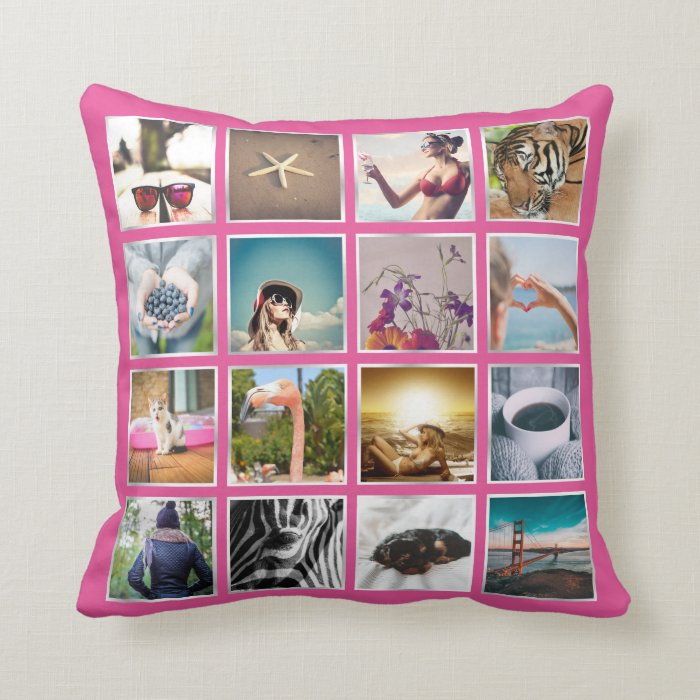 Create Your Own 16 Photo Collage Instagram Pillow Zazzle