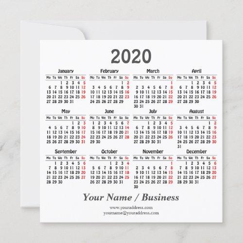 Create your own 2020 calendar Flat Card