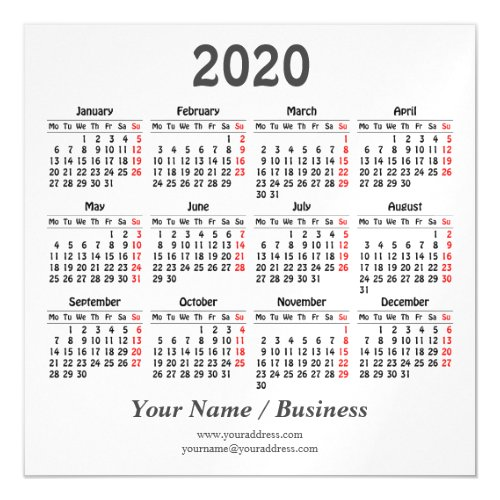 Create your own 2020 calendar magnetic invitation