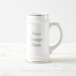Create Your Own 22oz White and Gold Beer Stein