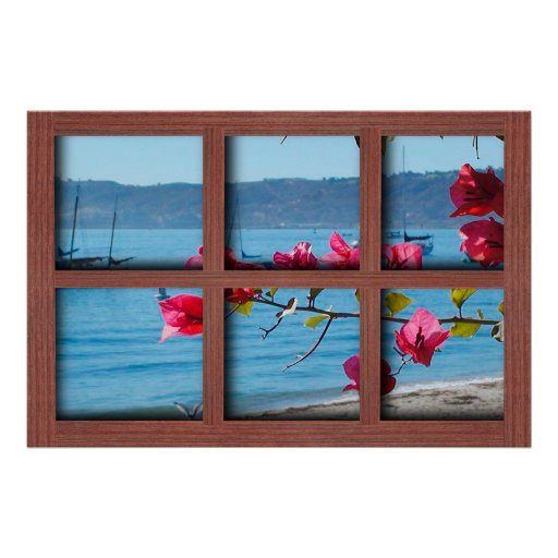 Create your own 24x36 red wood window frame poster zazzle for Build your own window