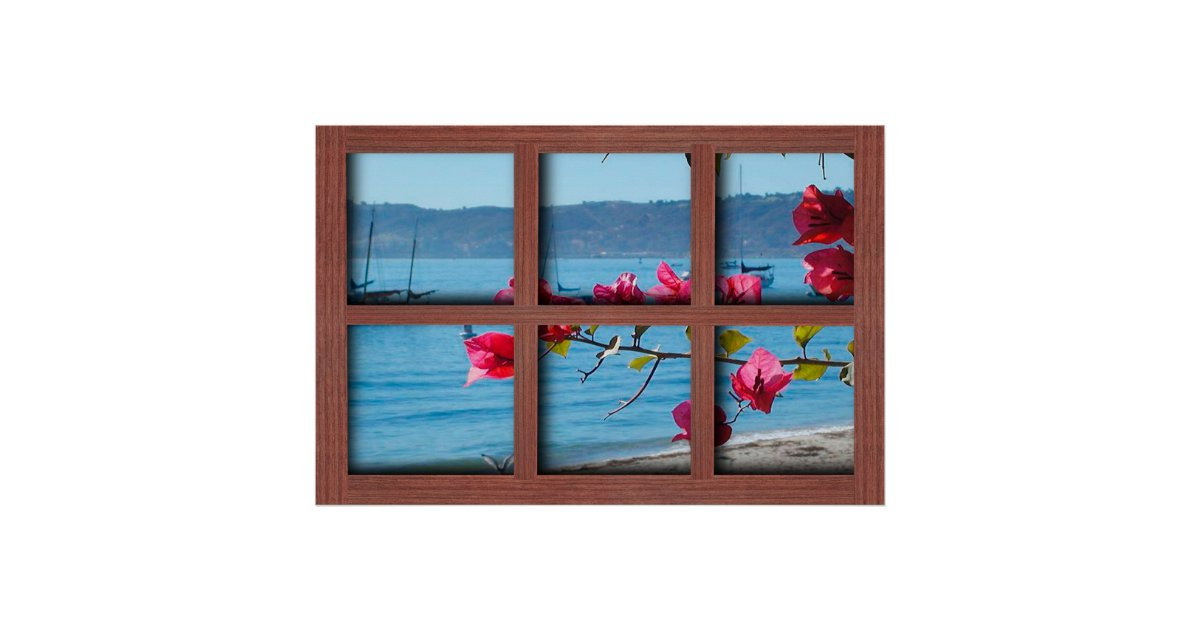 create your own 24x36 red wood window frame poster zazzle