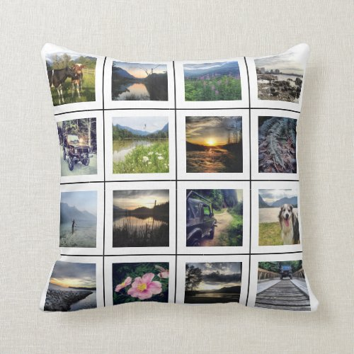 Create your Own 32 Photo Personalized Instagram Throw Pillow