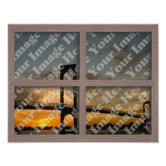 Create Your Own 4 Pane Bleached Wood Window Frame Poster