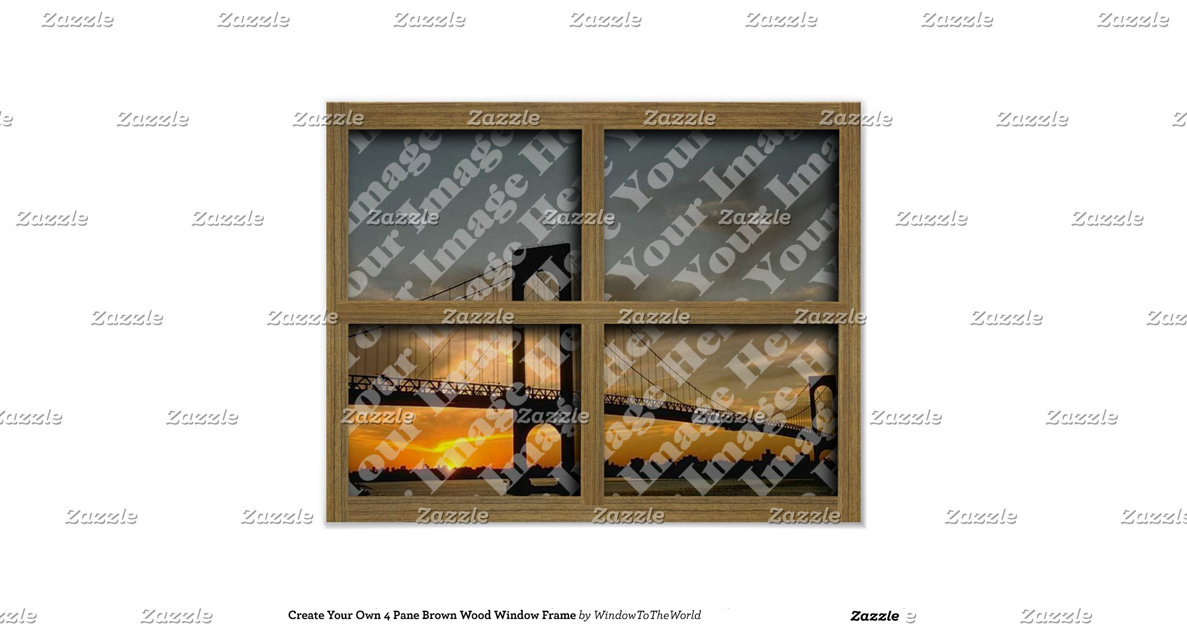 Create your own 4 pane brown wood window frame poster for Build your own window