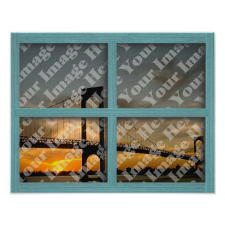 Create Your Own 4 Pane Green Wood Frame Window Poster