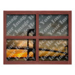 Create Your Own 4 Pane Red Wood Window Frame Posters