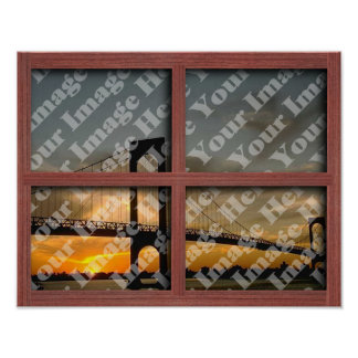 Create Your Own 4 Pane Red Wood Window Frame Poster
