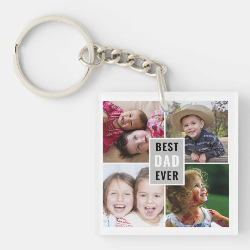 Create Your Own 4 Photo Collage Best Dad Ever Keychain
