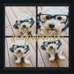 """Create Your Own 4 Photo Collage - Script Name Faux Canvas Print<br><div class=""""desc"""">Use up to four square or selfie phone photos to create a unique and personal gift. Or you can keep the hipster puppy and make a trendy keepsake. If you need to adjust the pictures,  click on the customize tool to make changes.</div>"""