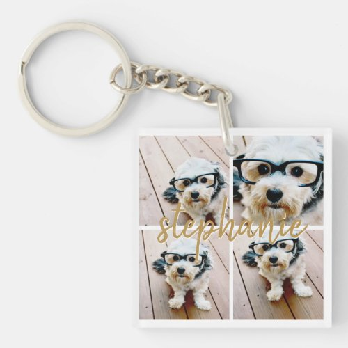 Create Your Own 4 Photo Collage _ Script Name Keychain