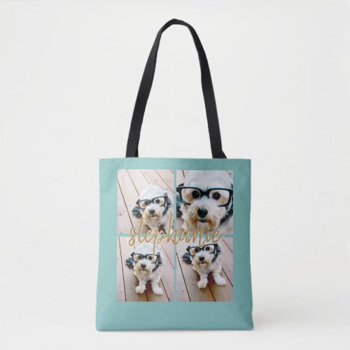 Create Your Own 4 Photo Collage _ Script Name Tote Bag