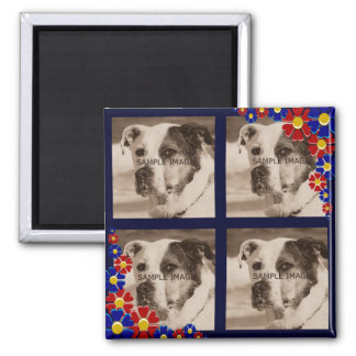 Create Your Own 4 Photo Instagram Retro Daisies 2 Inch Square Magnet