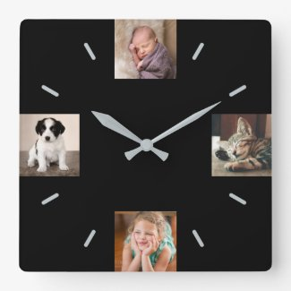 Create Your Own 4 Photo Modern Black Square Wall Clock