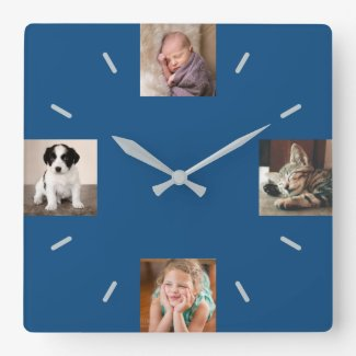 Create Your Own 4 Photo Modern Blue Square Wall Clock