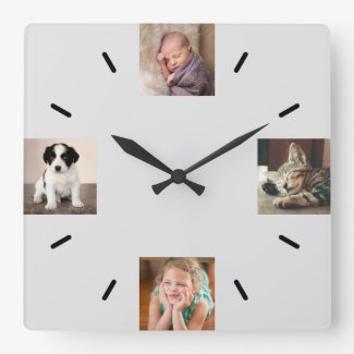Create Your Own 4 Photo Modern Gray Square Wall Clock