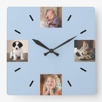 Create Your Own 4 Photo Modern Light Blue Square Wall Clock