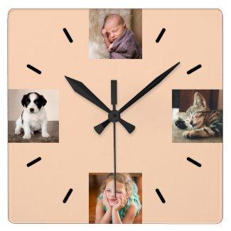 Create Your Own 4 Photo Modern Peach Square Wall Clock
