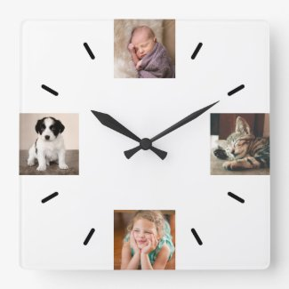 Create Your Own 4 Photo Modern Square Wall Clock