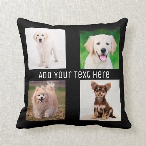 Create Your Own 4 photos Collage Throw Pillow