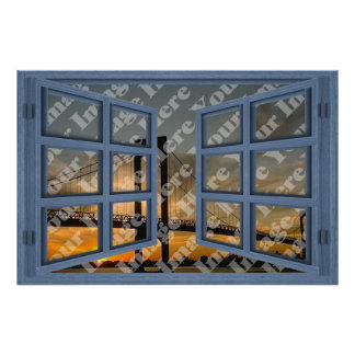 Create Your Own 6 Pane Blue Open Window Print