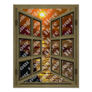 Create Your Own 6 Pane Brown Open Window Poster