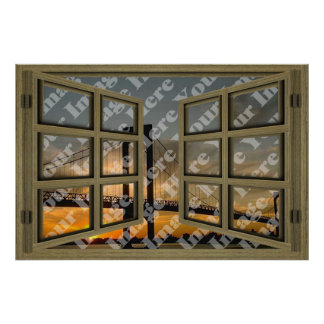 Create Your Own 6 Pane Brown Wooden Open Window Poster
